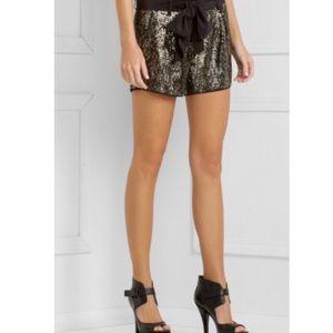 NWT BCBGMaxAzria Black Silk Sequin Dress Shorts S